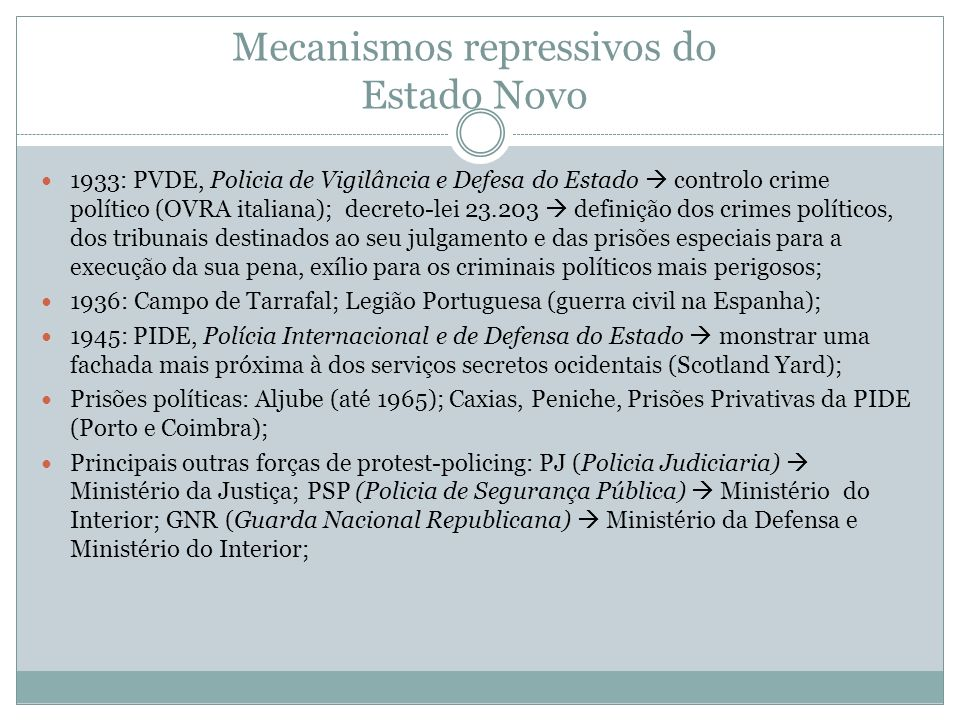Mecanismos repressivos do Estado Novo