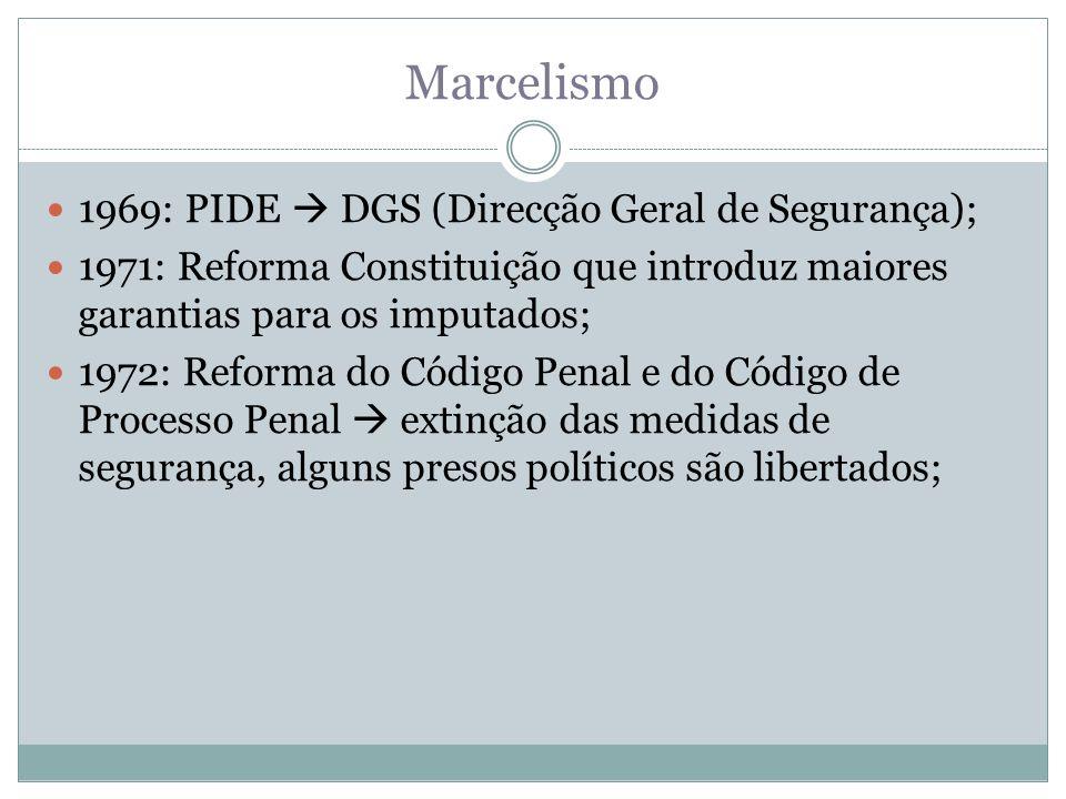 Marcelismo 1969: PIDE  DGS (Direcção Geral de Segurança);