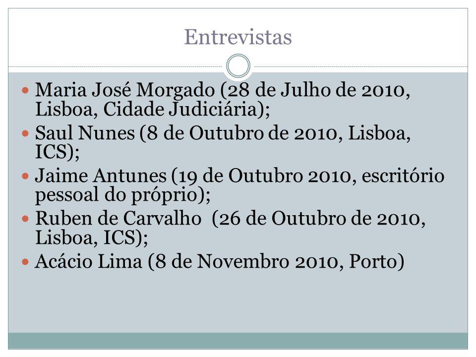 Entrevistas Maria José Morgado (28 de Julho de 2010, Lisboa, Cidade Judiciária); Saul Nunes (8 de Outubro de 2010, Lisboa, ICS);