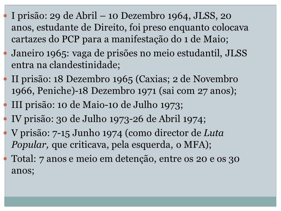 I prisão: 29 de Abril – 10 Dezembro 1964, JLSS, 20 anos, estudante de Direito, foi preso enquanto colocava cartazes do PCP para a manifestação do 1 de Maio;