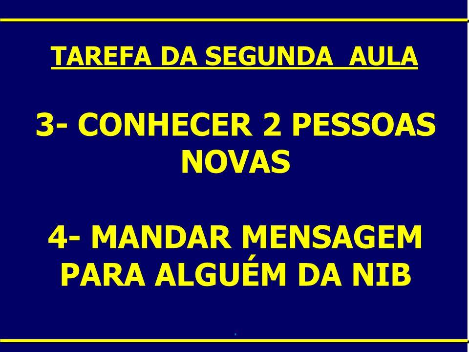 3- CONHECER 2 PESSOAS NOVAS 4- MANDAR MENSAGEM PARA ALGUÉM DA NIB .