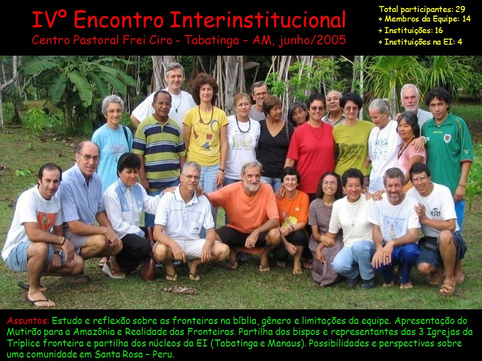 Total participantes: 29 + Membros da Equipe: 14