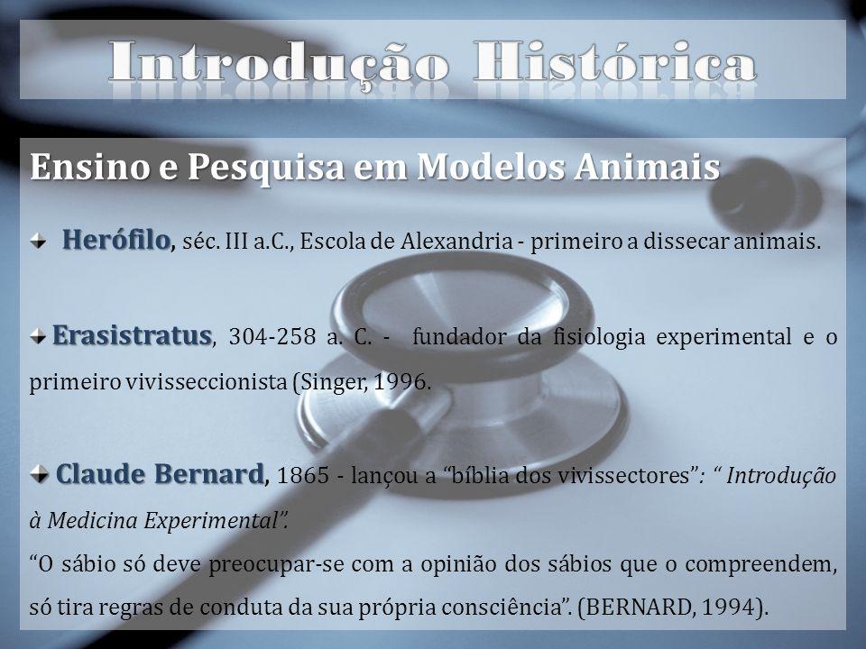 Introdução Histórica Ensino e Pesquisa em Modelos Animais