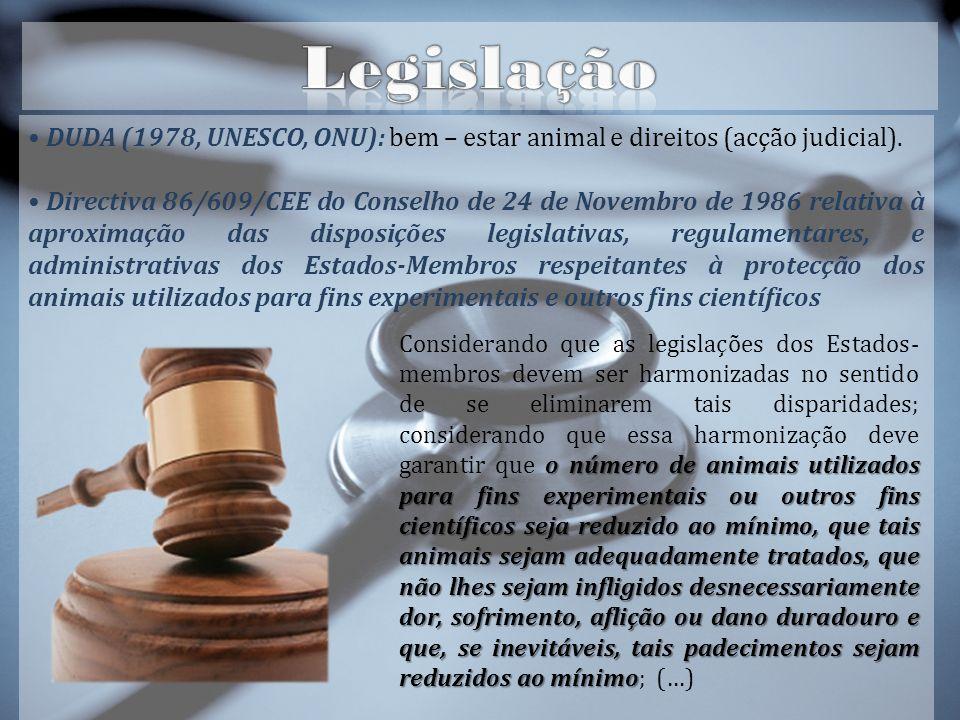 Legislação DUDA (1978, UNESCO, ONU): bem – estar animal e direitos (acção judicial).