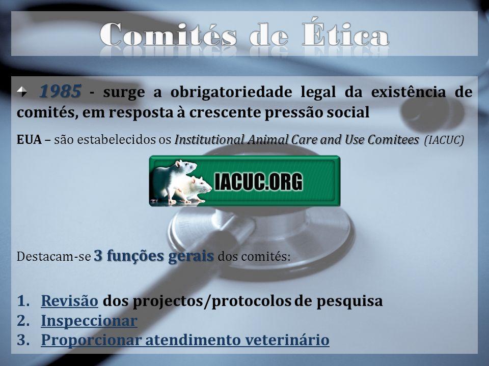 Comités de Ética 1985 - surge a obrigatoriedade legal da existência de comités, em resposta à crescente pressão social.