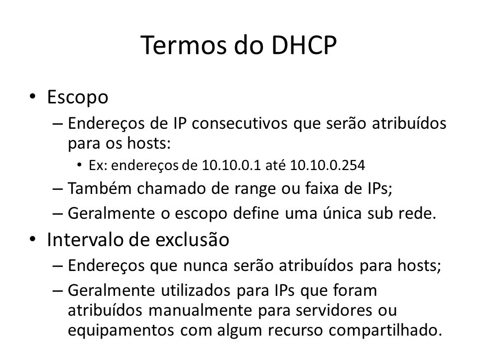 Termos do DHCP Escopo Intervalo de exclusão