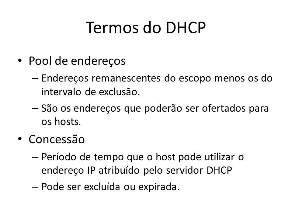 Termos do DHCP Pool de endereços Concessão