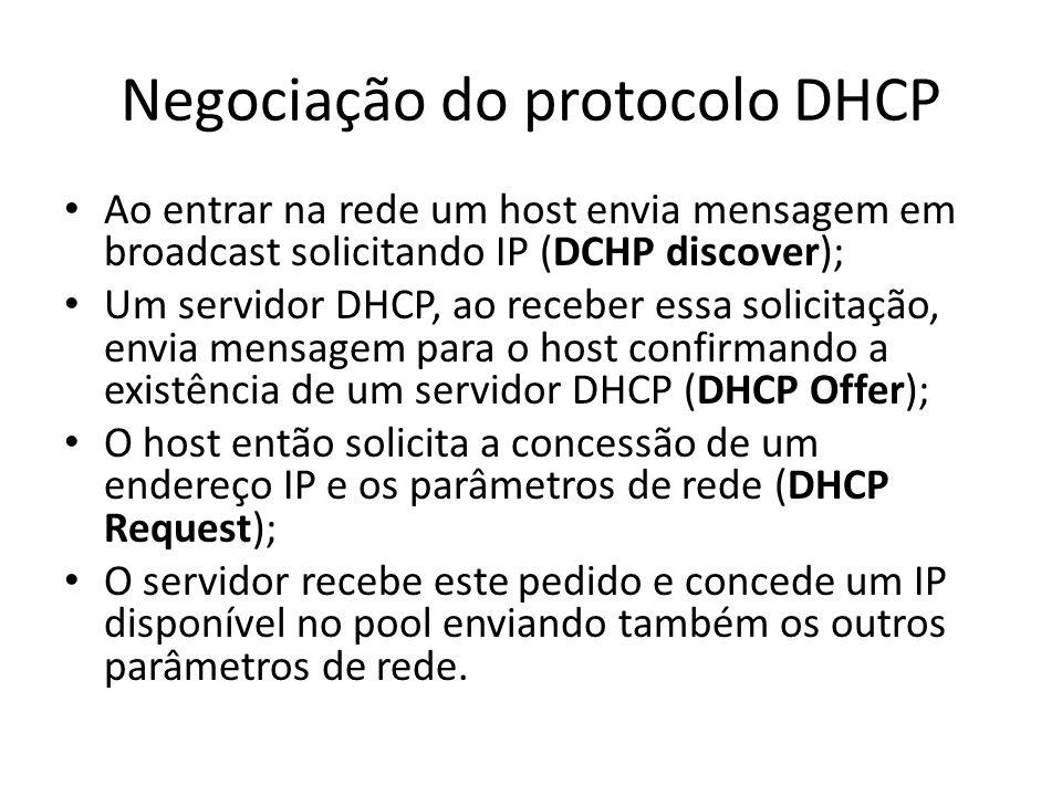 Negociação do protocolo DHCP