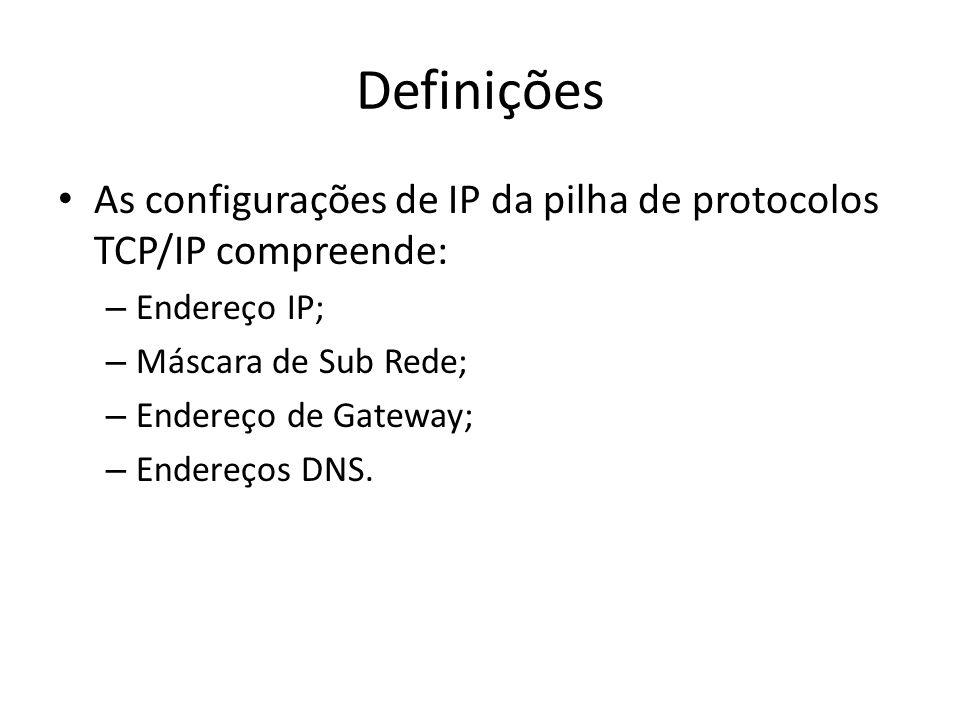 Definições As configurações de IP da pilha de protocolos TCP/IP compreende: Endereço IP; Máscara de Sub Rede;