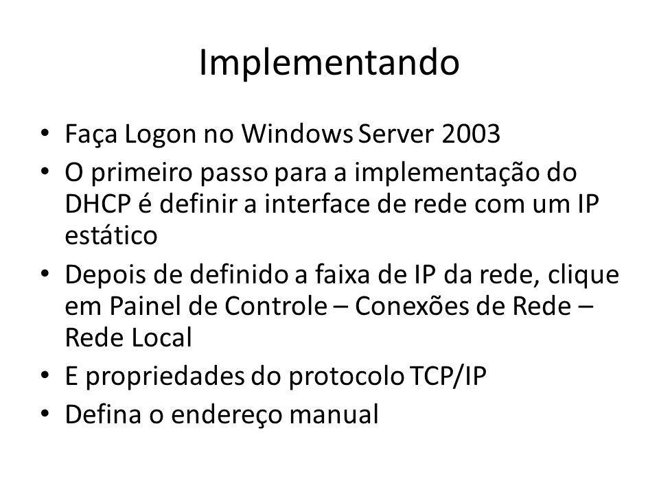 Implementando Faça Logon no Windows Server 2003