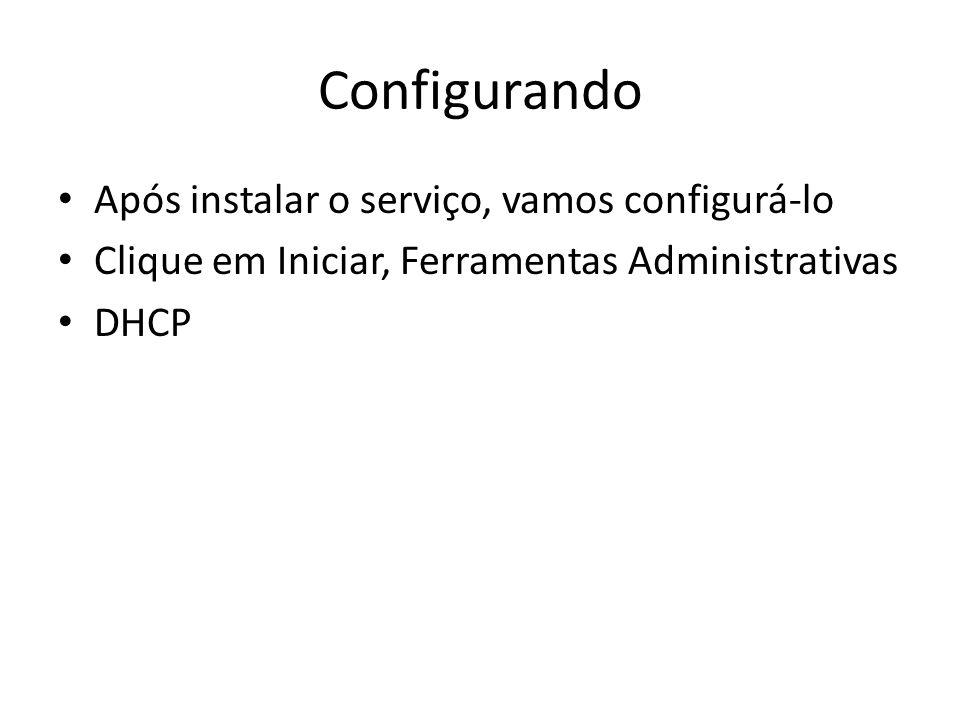 Configurando Após instalar o serviço, vamos configurá-lo