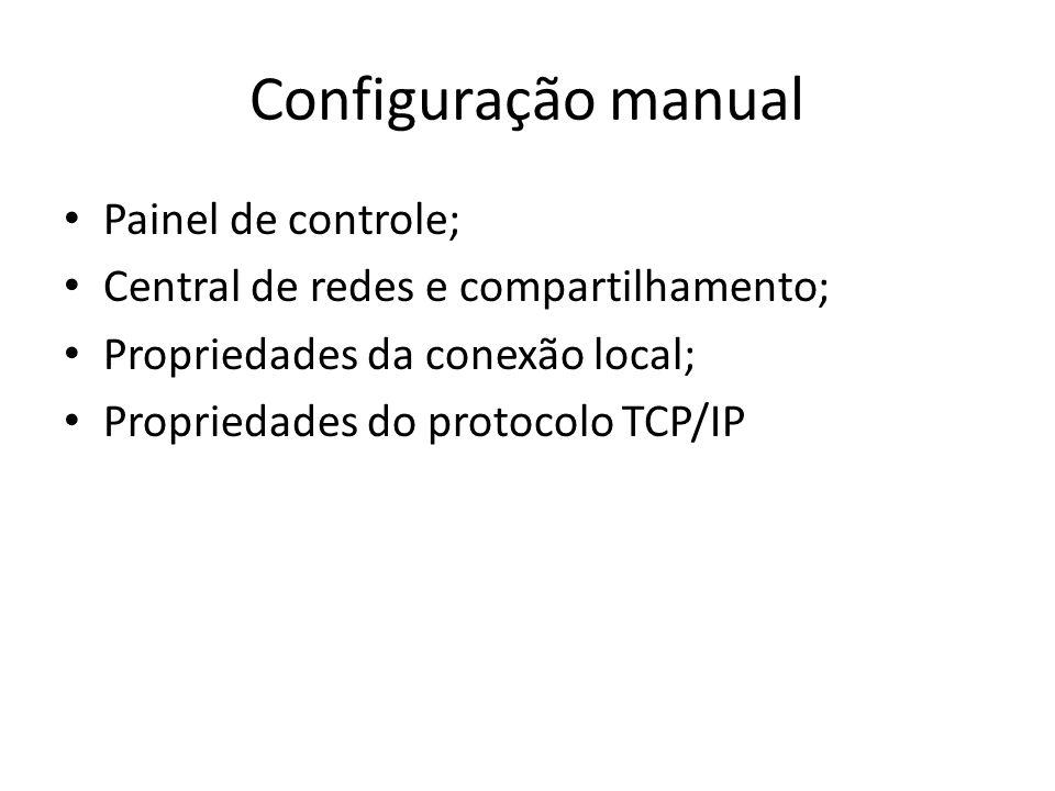 Configuração manual Painel de controle;