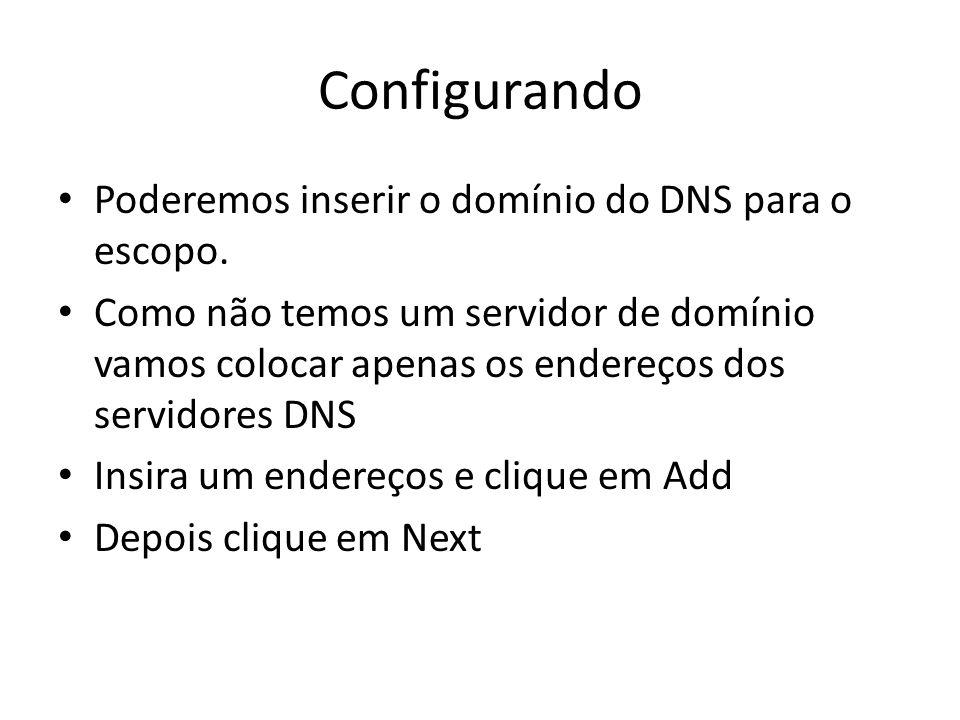 Configurando Poderemos inserir o domínio do DNS para o escopo.
