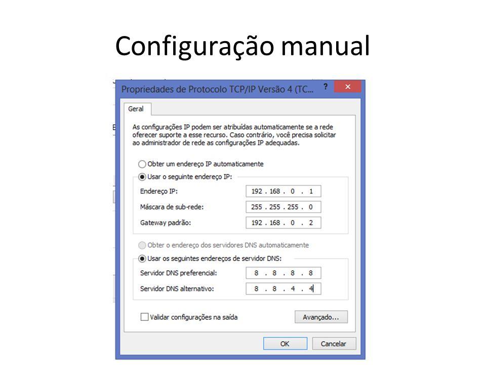 Configuração manual