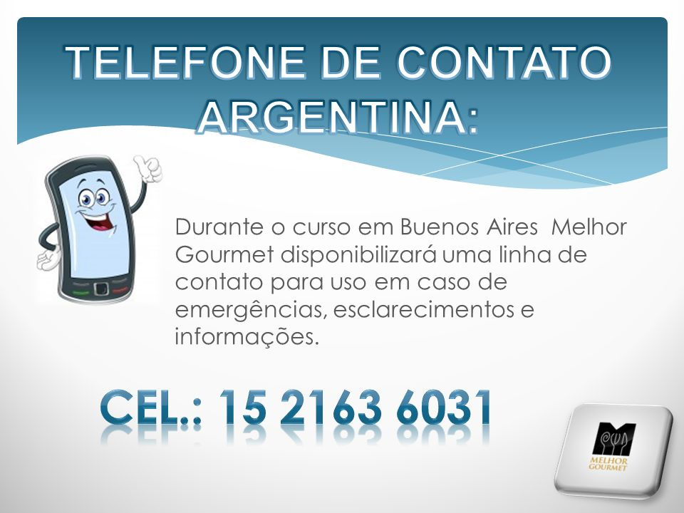 TELEFONE DE CONTATO ARGENTINA: