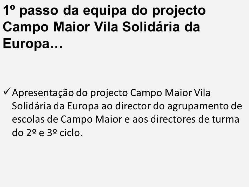 1º passo da equipa do projecto Campo Maior Vila Solidária da Europa…