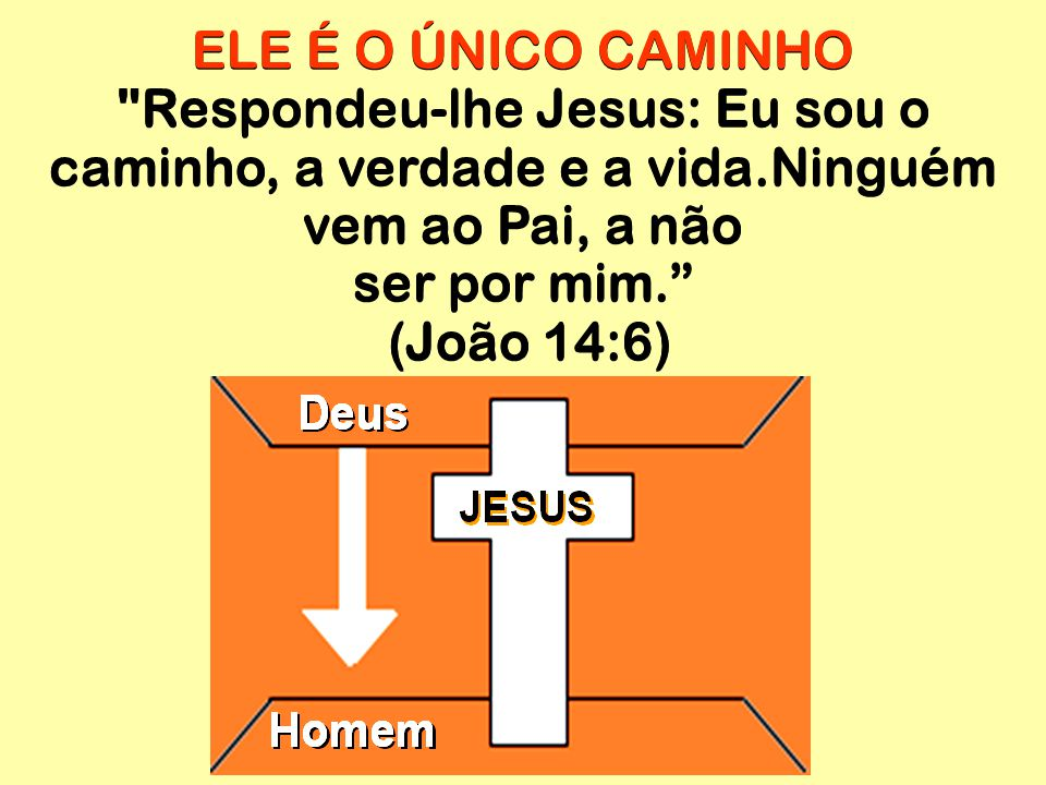 ELE É O ÚNICO CAMINHO Respondeu-lhe Jesus: Eu sou o caminho, a verdade e a vida.Ninguém vem ao Pai, a não