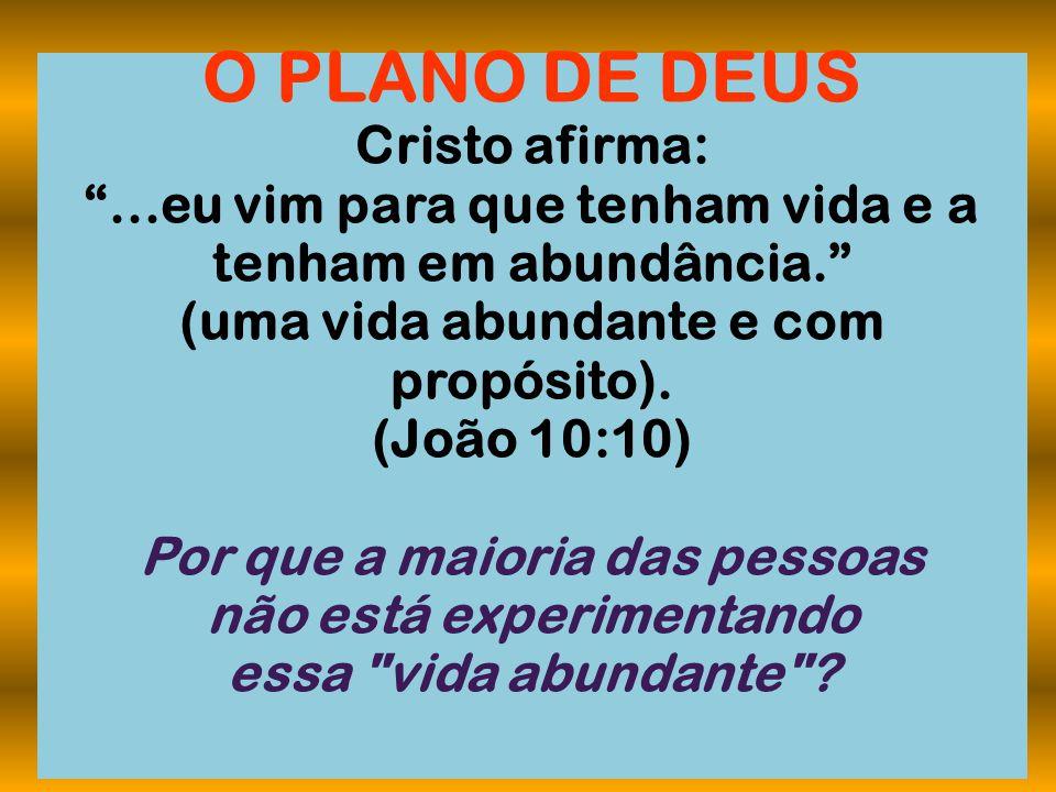 O PLANO DE DEUS Cristo afirma: