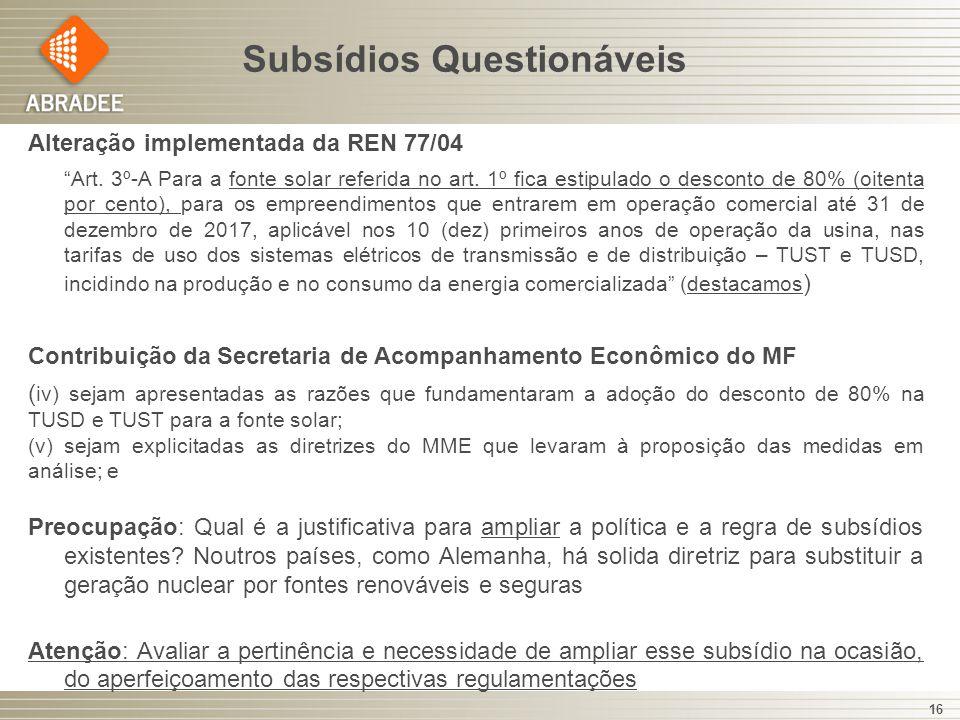 Subsídios Questionáveis