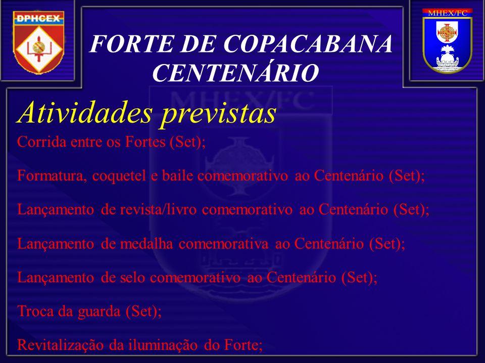 Atividades previstas FORTE DE COPACABANA CENTENÁRIO