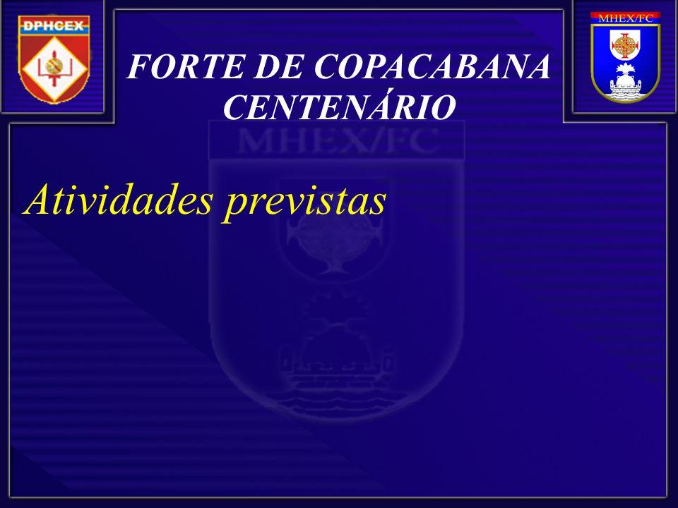 FORTE DE COPACABANA CENTENÁRIO Atividades previstas