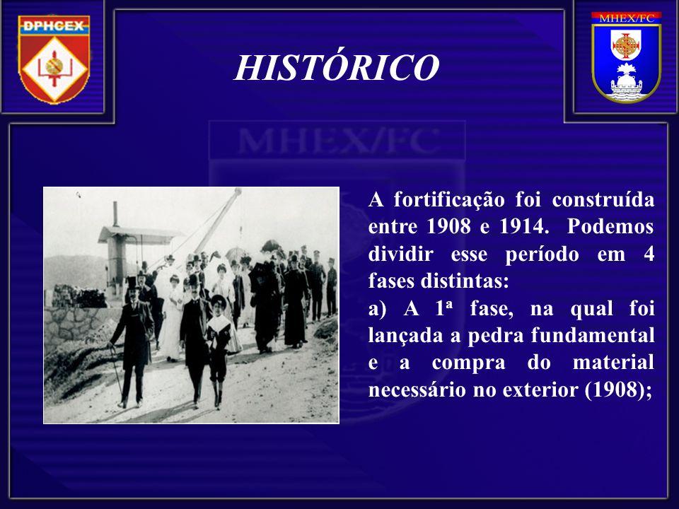 HISTÓRICO A fortificação foi construída entre 1908 e 1914. Podemos dividir esse período em 4 fases distintas: