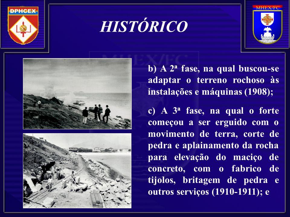 HISTÓRICO b) A 2a fase, na qual buscou-se adaptar o terreno rochoso às instalações e máquinas (1908);