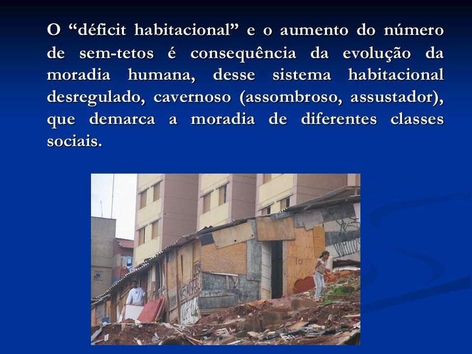 O déficit habitacional e o aumento do número de sem-tetos é consequência da evolução da moradia humana, desse sistema habitacional desregulado, cavernoso (assombroso, assustador), que demarca a moradia de diferentes classes sociais.