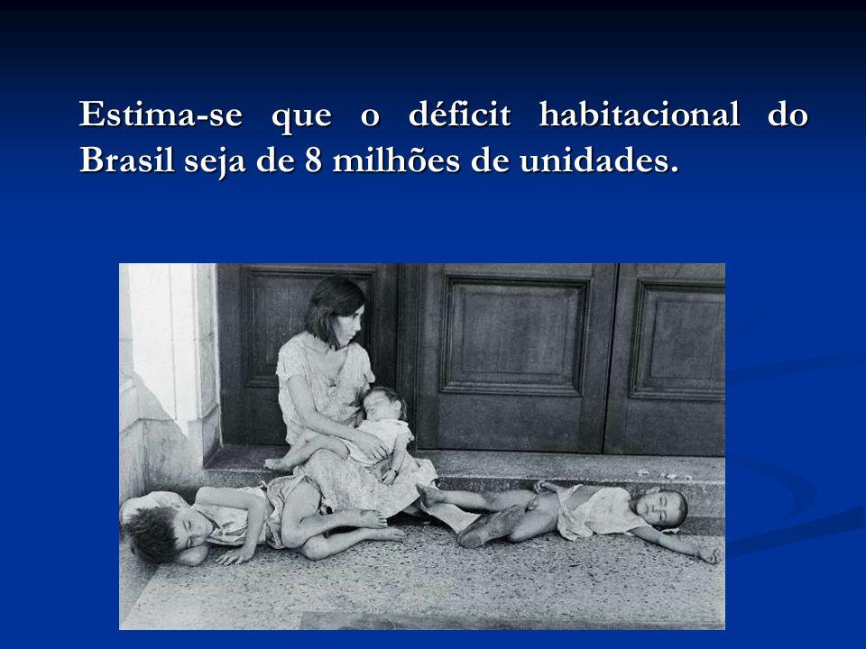 Estima-se que o déficit habitacional do Brasil seja de 8 milhões de unidades.
