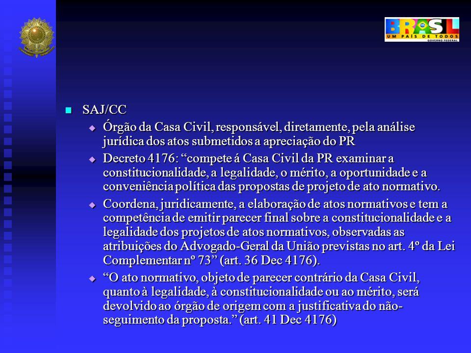 SAJ/CC Órgão da Casa Civil, responsável, diretamente, pela análise jurídica dos atos submetidos a apreciação do PR.