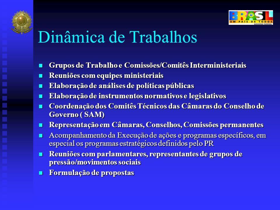 Dinâmica de Trabalhos Grupos de Trabalho e Comissões/Comitês Interministeriais. Reuniões com equipes ministeriais.