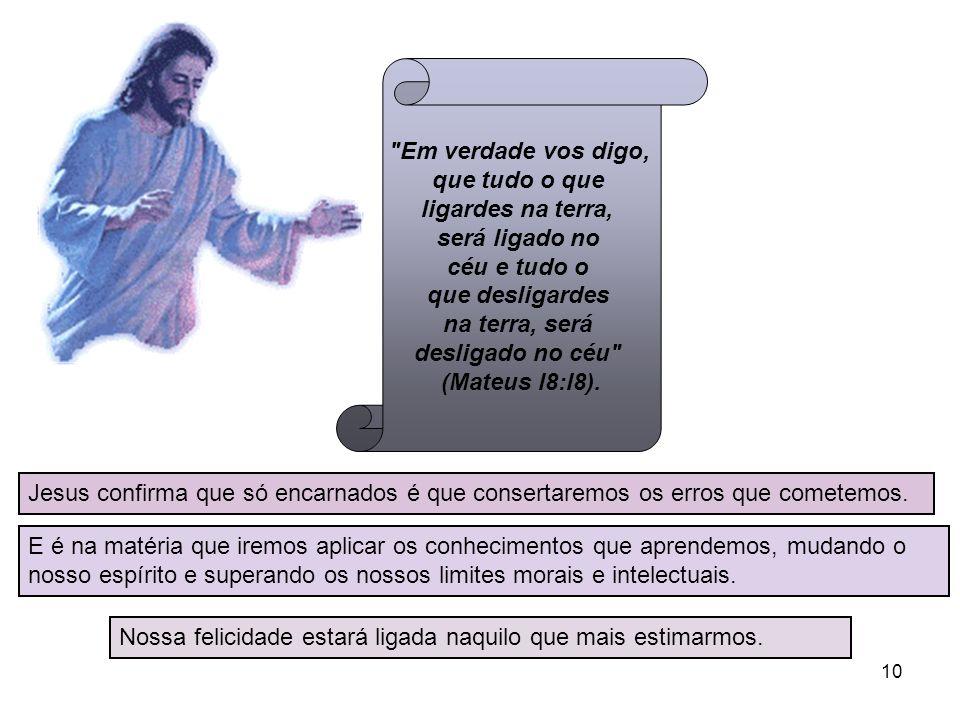 Em verdade vos digo, que tudo o que ligardes na terra, será ligado no céu e tudo o que desligardes na terra, será desligado no céu (Mateus l8:l8).