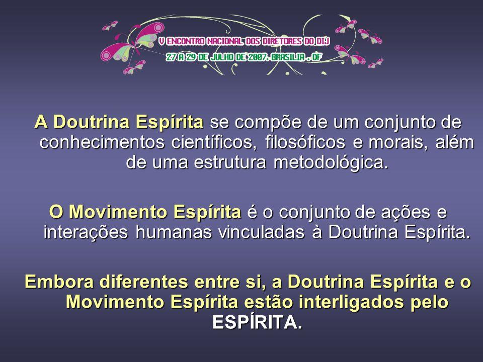 A Doutrina Espírita se compõe de um conjunto de conhecimentos científicos, filosóficos e morais, além de uma estrutura metodológica.