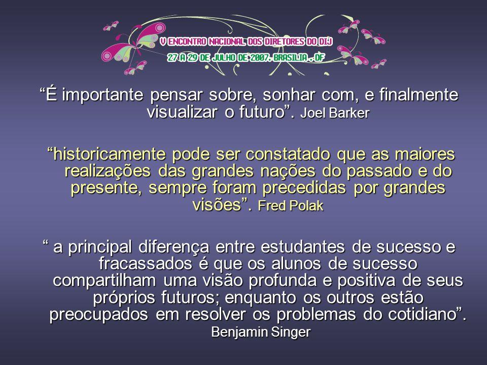 É importante pensar sobre, sonhar com, e finalmente visualizar o futuro . Joel Barker