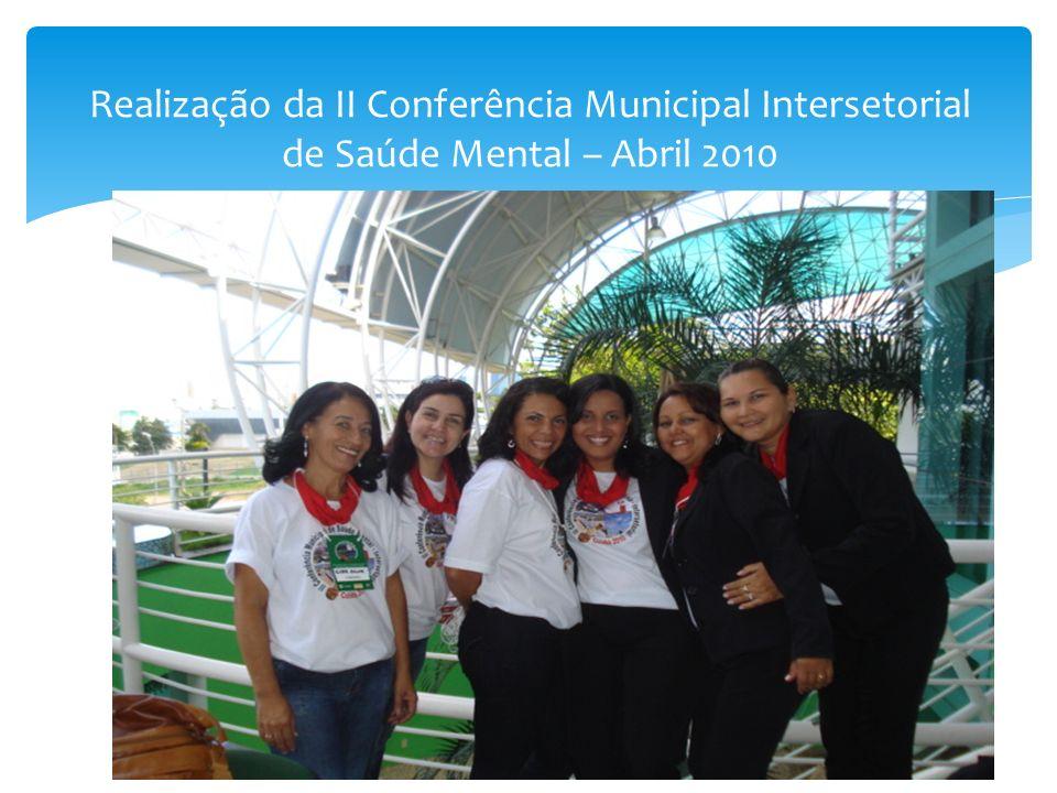 Realização da II Conferência Municipal Intersetorial de Saúde Mental – Abril 2010