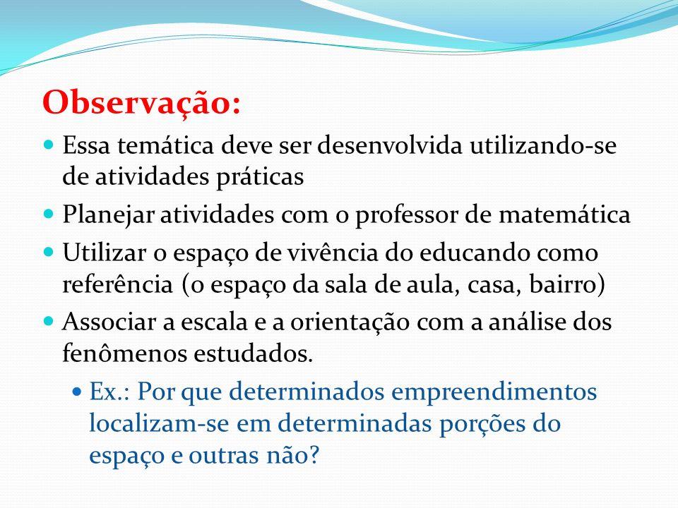 Observação: Essa temática deve ser desenvolvida utilizando-se de atividades práticas. Planejar atividades com o professor de matemática.
