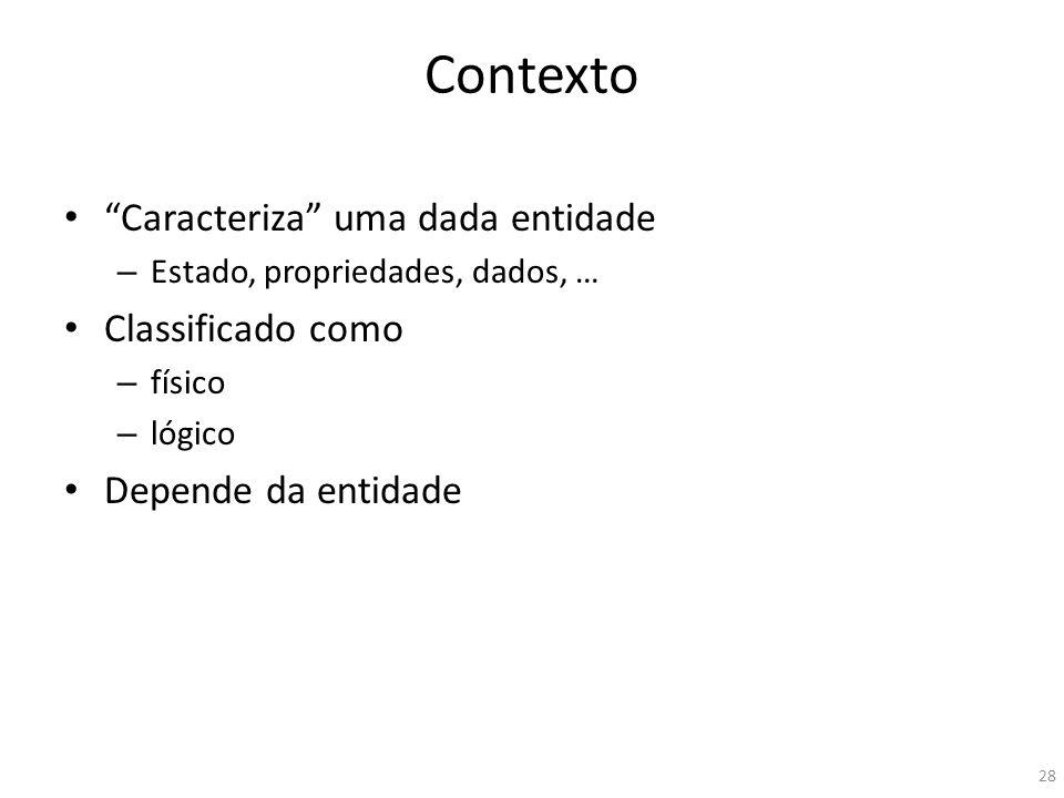 Contexto Caracteriza uma dada entidade Classificado como