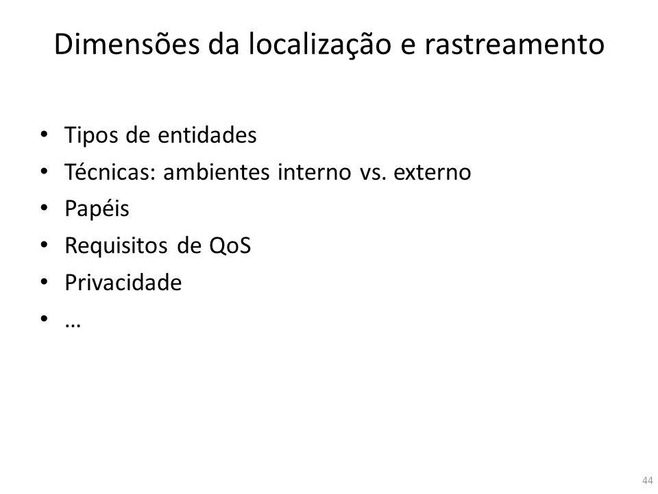 Dimensões da localização e rastreamento