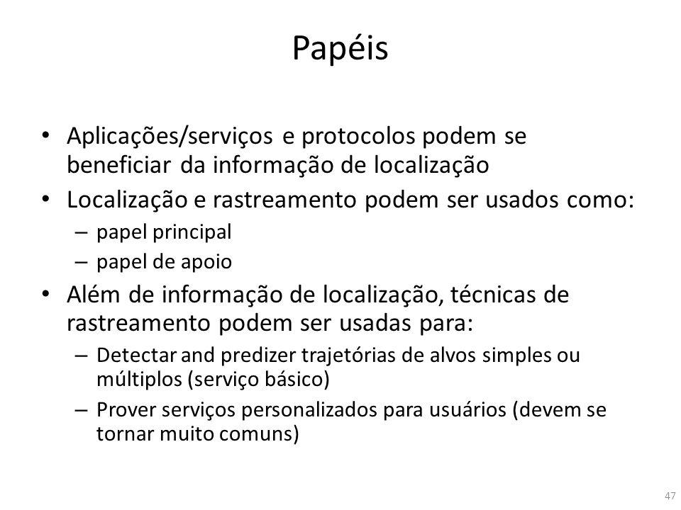 Papéis Aplicações/serviços e protocolos podem se beneficiar da informação de localização. Localização e rastreamento podem ser usados como: