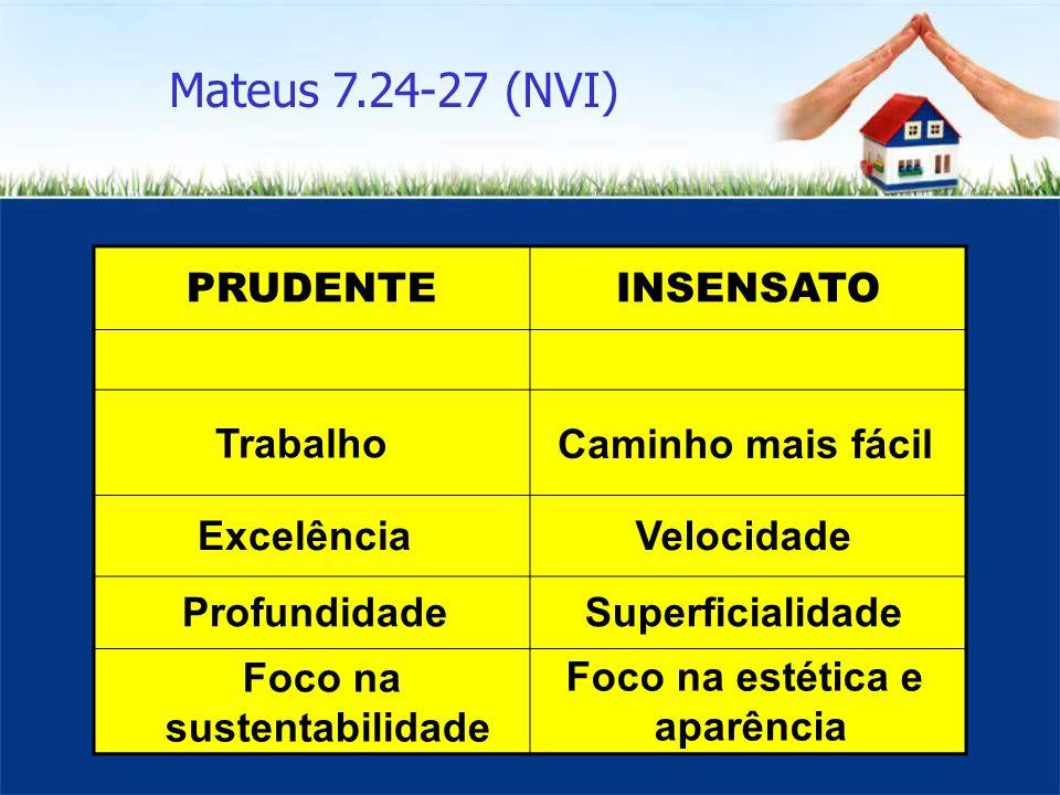 Mateus 7.24-27 (NVI) PRUDENTE INSENSATO Trabalho Caminho mais fácil