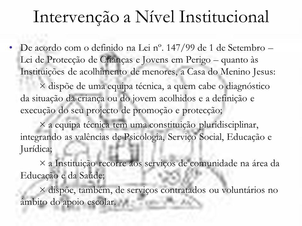 Intervenção a Nível Institucional