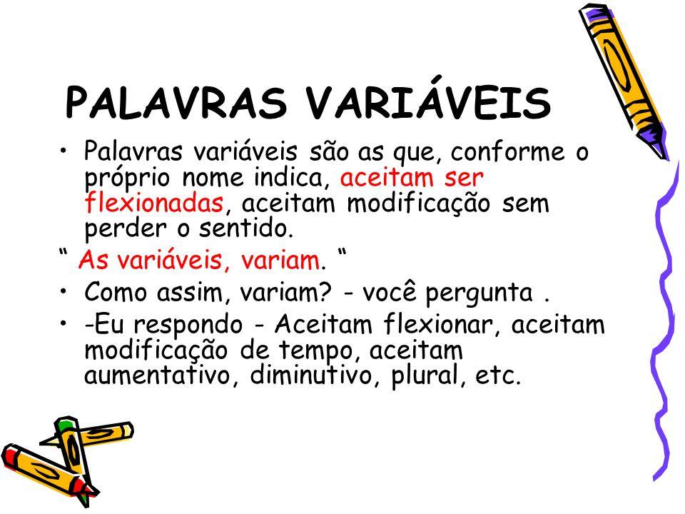 PALAVRAS VARIÁVEIS Palavras variáveis são as que, conforme o próprio nome indica, aceitam ser flexionadas, aceitam modificação sem perder o sentido.
