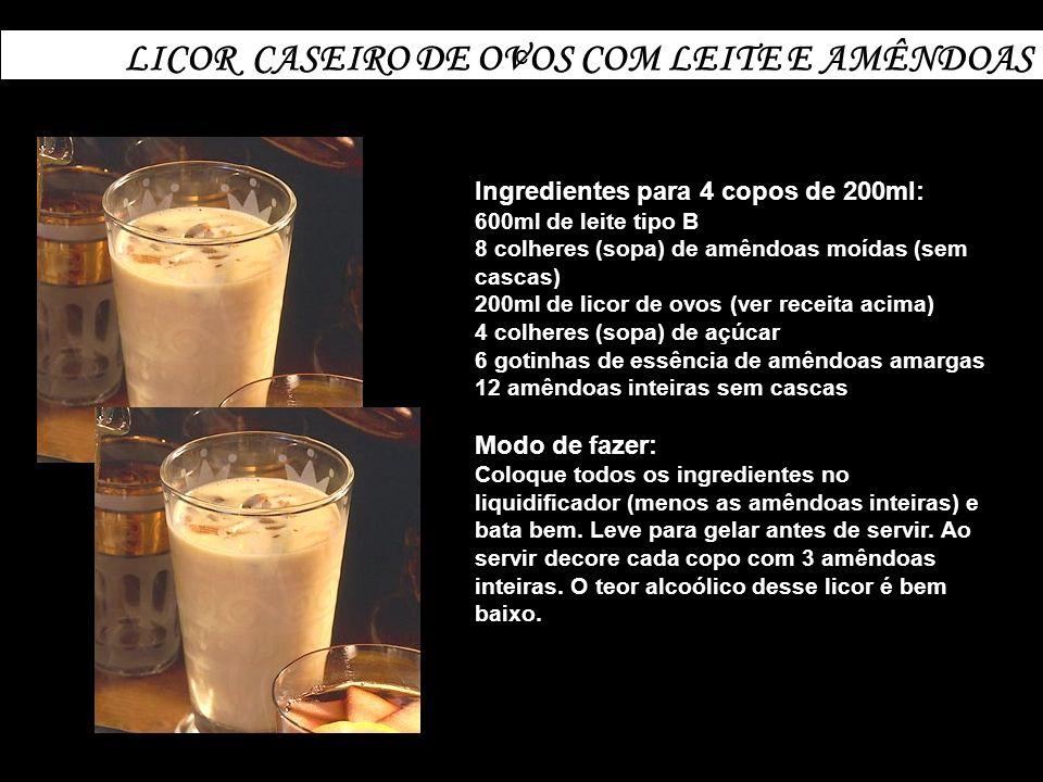 LICOR CASEIRO DE OVOS COM LEITE E AMÊNDOAS