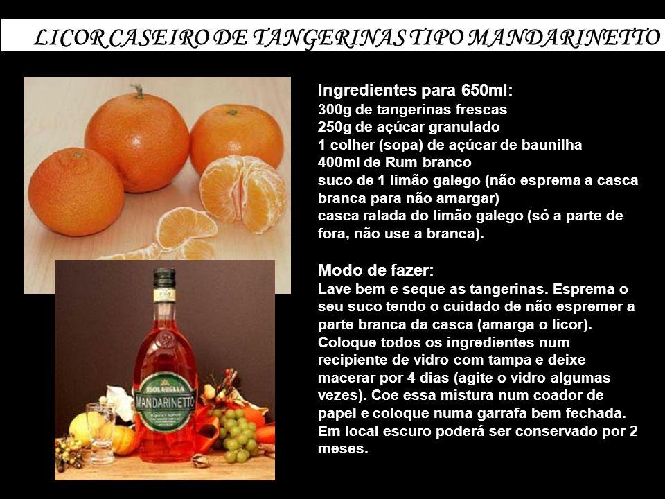 LICOR CASEIRO DE TANGERINAS TIPO MANDARINETTO