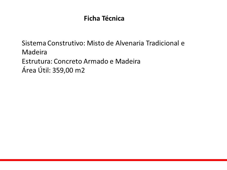 Ficha Técnica Sistema Construtivo: Misto de Alvenaria Tradicional e Madeira. Estrutura: Concreto Armado e Madeira.