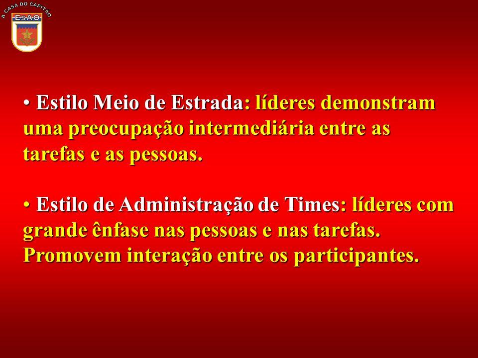 A CASA DO CAPITÃO Estilo Meio de Estrada: líderes demonstram uma preocupação intermediária entre as tarefas e as pessoas.