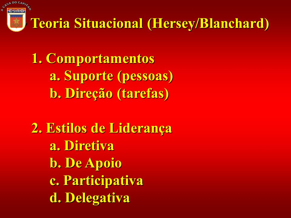 A CASA DO CAPITÃO Teoria Situacional (Hersey/Blanchard) 1. Comportamentos. a. Suporte (pessoas) b. Direção (tarefas)