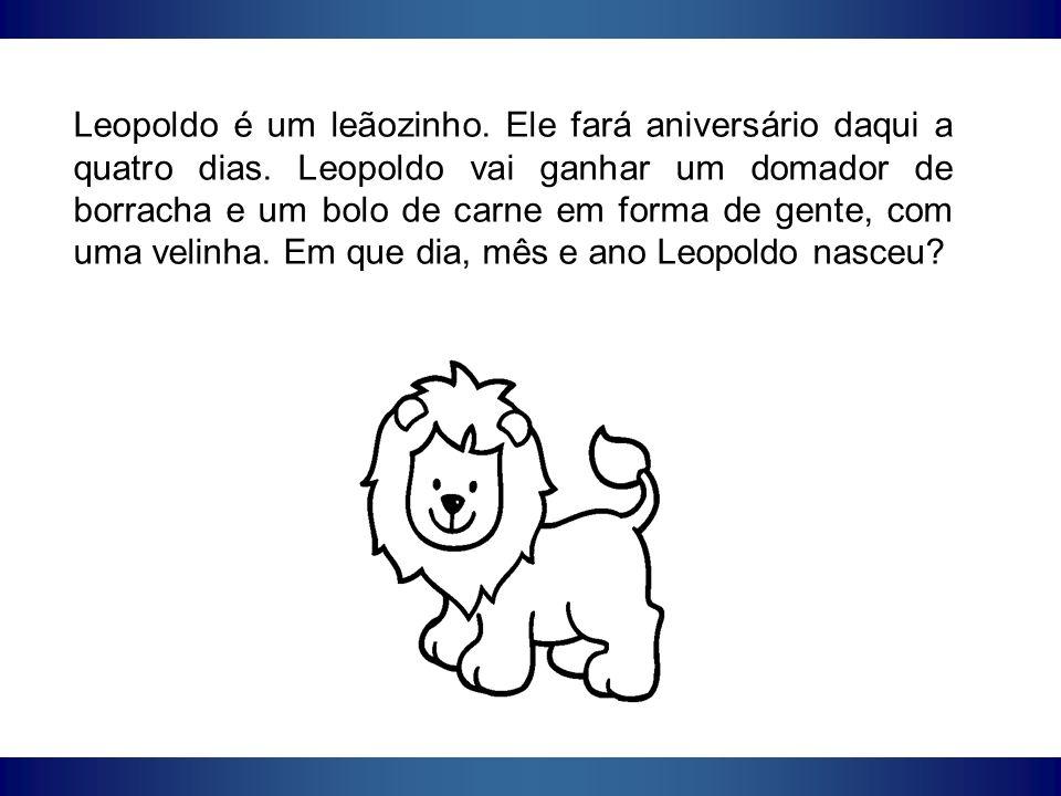 Leopoldo é um leãozinho. Ele fará aniversário daqui a quatro dias
