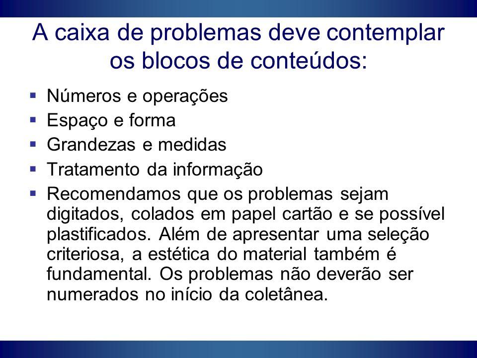 A caixa de problemas deve contemplar os blocos de conteúdos:
