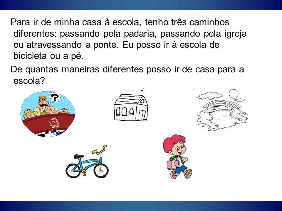 Para ir de minha casa à escola, tenho três caminhos diferentes: passando pela padaria, passando pela igreja ou atravessando a ponte. Eu posso ir à escola de bicicleta ou a pé.